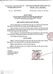 Quyết định về việc công bố công khai thực hiện dự toán ngân sách 9 tháng đầu năm 2019 của trường THPT Yên Hòa