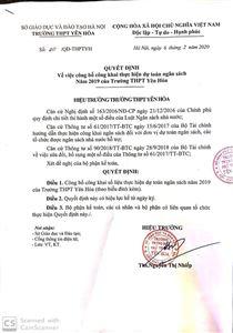 Quyết định công bố công khai thực hiện dự toán ngân sách năm 2019 trường THPT Yên Hòa