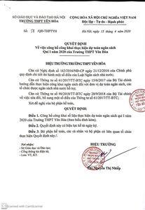 Quyết định về việc công khai dự toán ngân sách Quý Inăm 2020 của Trường THPT Yên Hòa
