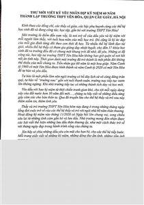 THƯ MỜI VIẾT KỶ YẾU KỶ NIỆM 60 NĂM THÀNH LẬP TRƯỜNG THPT YÊN HÒA, CẦU GIẤY, HÀ NỘI.