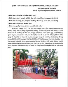 Toàn văn bài diễn văn nhân dịp kỷ niệm 60 năm thành lập trường THPT Yên Hòa